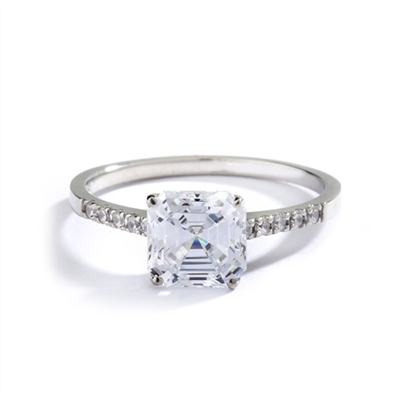 Diamond Essence Designer ring with 2.0 ct. Asscher cut Diamond Essence center with round stones on band, 2.10 Ct. T.W. set in 14K Solid White Gold.