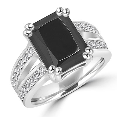 Diamond Essence Designer ring with 5.0 ct. Onyx stone in center with two rows of round stone on each side of the band, 5.50 Cts. T.W. set in 14K Solid White Gold.