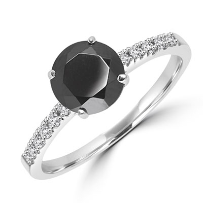 Diamond Essence Designer ring with 1.0 Ct. Onyx stone in center with round stone on the band. 1.10 Cts. T.W. set in 14K Solid White Gold.