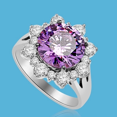 Designer Ring with Round Amethyst Essence in center surrounded by Round Brilliant Diamond Essence and Melee. 4.5 Cts. T.W. set in 14K Solid White Gold.
