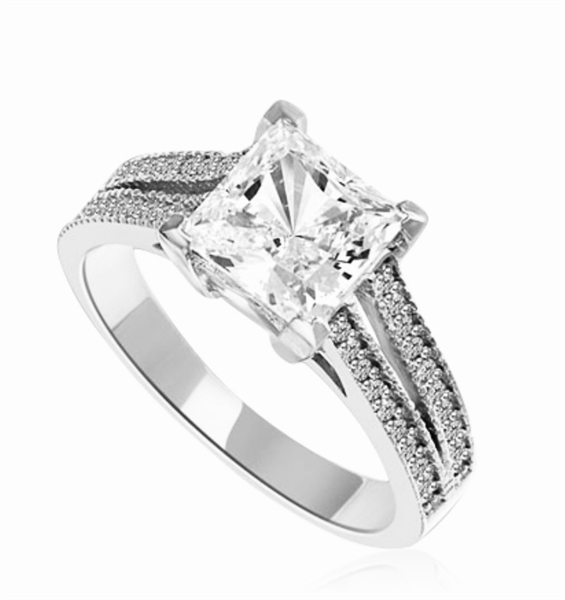 Diamond Essence Ring with Princess  in Center accompanied by two rows of melee on each side. 3.25 Cts T.W. set in 14K solid White Gold.