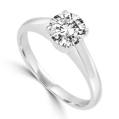 Solitaire Ring in Tiffany Setting -1 Cts. T.W. In 14k Solid White Gold.