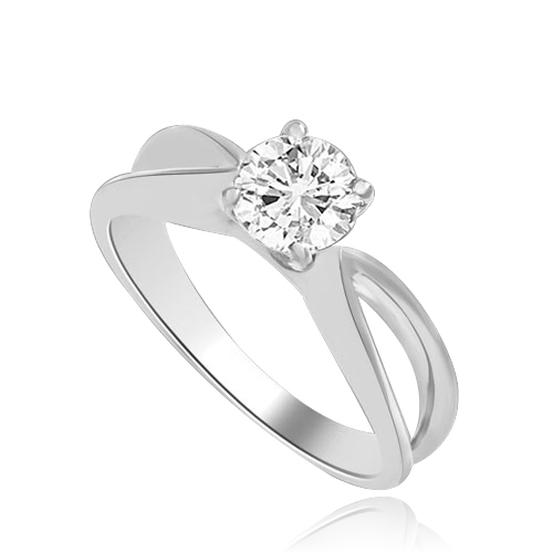 This Ring Is a sureshot hit with jewelry conossieurs. 0.75 Ct. Round Brilliant Masterpiece is set exquisitely on a cross curve band. In 14k Solid White Gold.