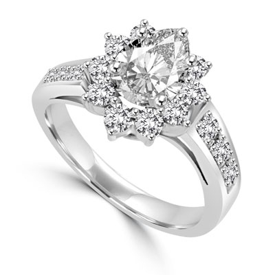 Wide Band Flower Ring sparkles with 1.5 Cts. Oval Center and  Round Brilliant Accents and Melee on the band. In 14k Solid White Gold.