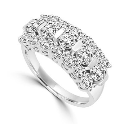 Wide Band Round Sparkles on Display - 2.5 Cts. T.W. In 14k Solid White Gold.