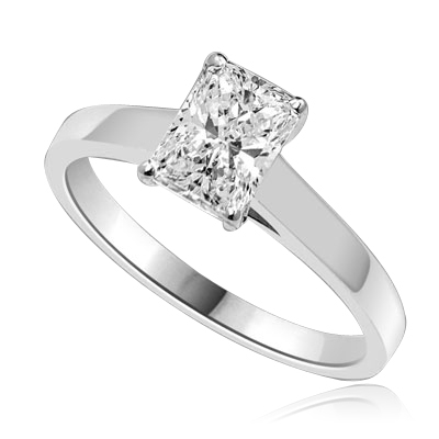 Diamond Essence Solitaire Ring with Radiant Emerald Stone, 1.0 ct.t.w. - WRDKR1122