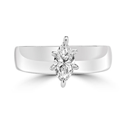 Wide Band Solitaire Ring with 0.75 ct.t.w. of Diamond Essence Marquise cut stone, set in six prongs setting, 14K Solid White Gold.