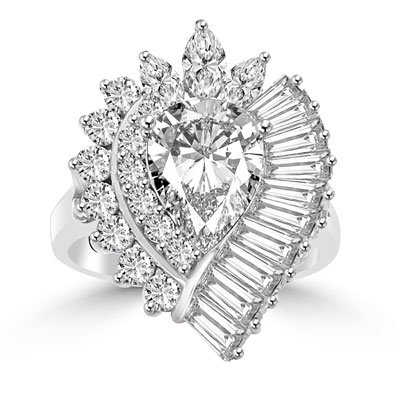 Diamond Essence Cocktail Ring with Pear, Marquise, Baguettes and Round Brilliant Stones, 7.0 cts.t.w. - WRDKR1154
