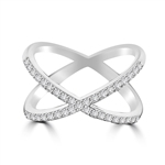 "Diamond Essence Criss Cross ""X"" Ring with Round Brilliant Melee in 14K White Gold , 0.35 Ct.T.W."