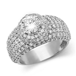 Diamond Essence Designer Cocktail Ring With Dome Pave Setting Round Brilliant Stones, 3 Cts.T.W. - WRDKR1196