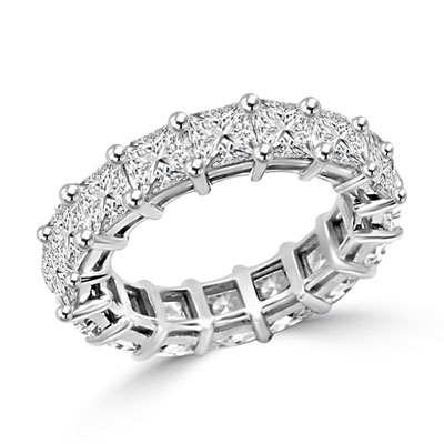 Diamond Essence Eternity Band With French Cut Stones, Approx 4 Cts.T.W. In 14K White Gold.