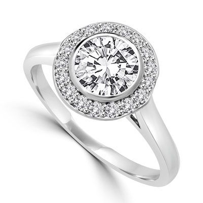Diamond Essence Ring with 1 Ct. Round Brilliant Stone And Melee Set In 14K White Gold.