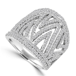 Diamond Essence Designer Cocktail Ring With Brilliant Melee in Delicate Prong Setting, 2.50 Cts.T.W. In 14K White Gold.