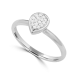 Diamond Essence Delicate Ring With Brilliant Melee in Pear Shape Setting, 0.10 Ct.T.W. In 14K White Gold.