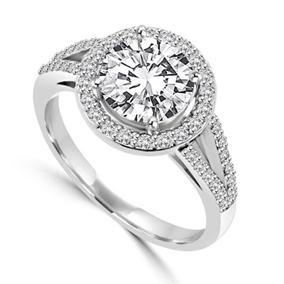 Diamond Essence Halo Setting Designer Ring with 2 Cts. Round Brilliant Center and Melee Around It and On The Band, 2.50 Cts.T.W. In 14K White Gold.