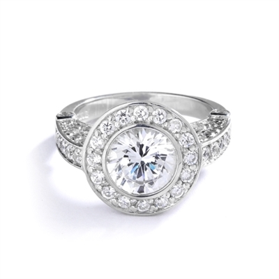 Designer Ring with Bezel Set, 3 Cts. Round Brilliant Diamond Essence in Center With Melee Around And On The Band, 4.30 Cts.T.W. Set In 14K White Gold.