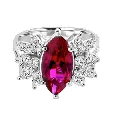 Designer Ring with 2.0 Cts. Marquise cut Ruby Essence in center accompanied by delicately set Marquise and Melee on each side. 3.0 Cts. T. W. set in 14K Solid White Gold.