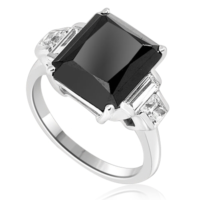 Onyx Ring - 6.0 Cts. Radiant Emerald cut Onyx Essence set in four prongs, accompanied by channel set Diamond Essence Baguettes and Princess cut stones on either side. 7.0 Cts.T.W. set in 14K Solid White Gold.