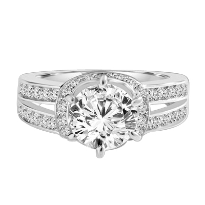 Engagement Ring- 1.75 Cts. Tiffany set Round Brilliant Diamond Essence in center enhanced by melee in curvd setting and two rows of melee on each side, adding more sparkles. 2.25 Cts T.W. set in 14K Solid White Gold.