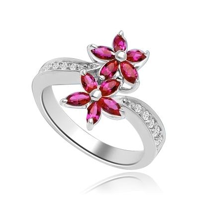 Dual Flowers - Marquise cut Ruby Essence Flower Clusters, seats uniquely on Melee set curvy Band, 2.0 Cts. T.W. In 14K Solid White Gold.