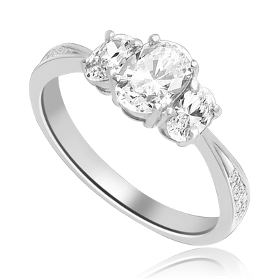 Cool Chic 3 Oval Stone Ring in Tiffany Band, 2 Cts. T.W. In 14k Solid White Gold.