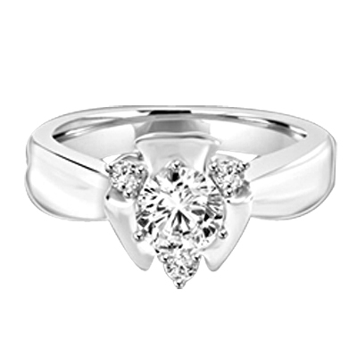 Designer Ring with Round Brilliant Diamond Essence, 0.65Ct in center set in three prongs nd Melee on corners to add more sparkles,0.75Cts. T.W. set in 14K Solid White Gold.
