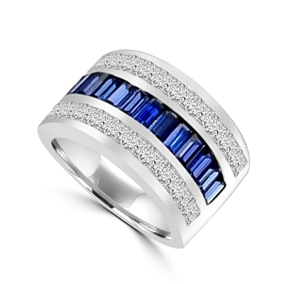 Sparkling Ring with three rows of Brilliance. Sapphire Essence Baguettes center is accentuated by Channel set Princess cut Diamond Essence Masterpieces. 5.0 cts.t.w. in 14K Solid White Gold.