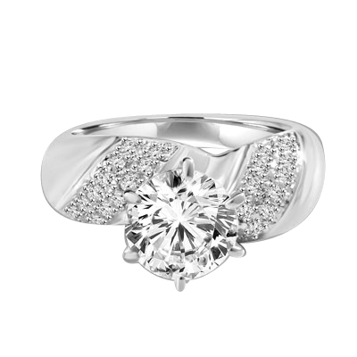 Sparkling Twist - 2.0 Cts. Round Brilliant Diamond Essence Set in center with cluster of Melee, on each side making twisted design, 2.35 Cts. T.W. set in 14K Solid White Gold.