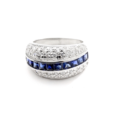 Diamond and Sapphire Ring - Impressive ring, one row of 2.0 Cts. Princess Cut Sapphire Essence stones in center with two rows of melee on each side. 2.50 Cts.T.W. set in 14K Solid White Gold.