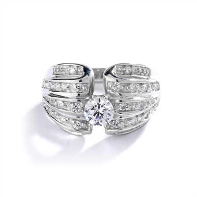 Designer Ring with 0.50 Ct. Round Brilliant Diamond Essence in center with five rows of sparkling Melee on both side. 0.85 Cts. T.W. set in 14K Solid White Gold.