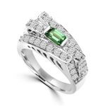 Diamond Essence Designer Ring In Unusual Artistic Design With 0.25 Ct. Emerald Baguettes And Round Melee, 1.75 Cts T.W. In 14K White Gold.