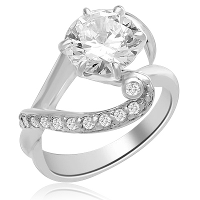 A designer ring with 2.5 Ct. Round White Brillaint Stone Sitting Pretty on a Curvacious Band. In 14k Solid White Gold.