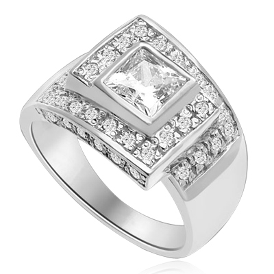 A Designer's Dream Ring that defies all ordinary! 1.5 Ct. Princess Cut is set in mesemerizing maze of channel set round accents. Approx. 3 Cts. T.W. In 14k Solid White Gold.