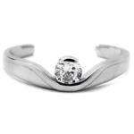 Diamond Essence 14K Solid White Gold Toe Ring with 0.20 Ct. Round Brilliant Stone in Bezel Setting.