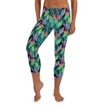 Bird of Paradise Hawaiian Floral and Tropical Fern Crop / Capri Leggings