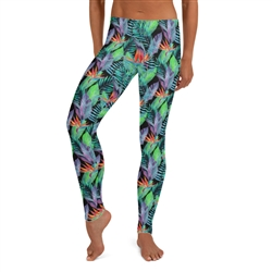 Bird of Paradise Hawaiian Floral and Tropical Fern Yoga Long Leggings - Plus Size Available