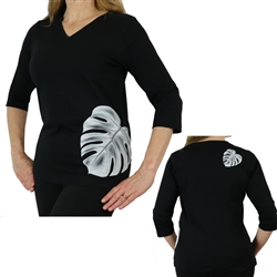 Women's 3/4 Sleeve Semi Fitted V-Neck Premium Jersey Tee with Monstera Leaf Print
