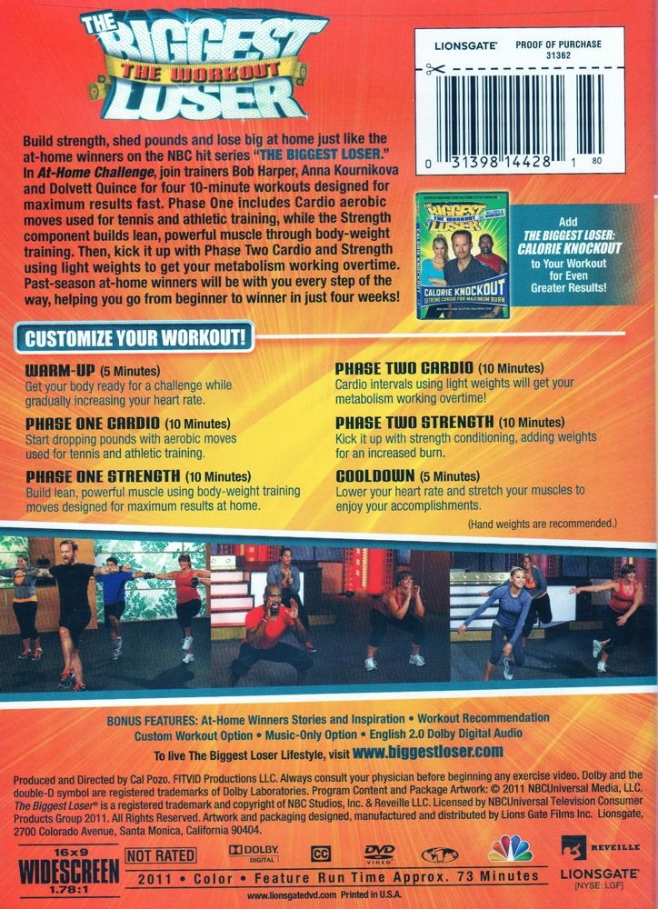 The biggest loser at home challenge dvd.