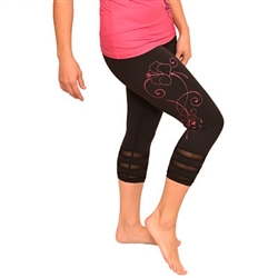 Hibiscus Crop Yoga Pants with Mesh inserts by Ori Active