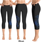 Hawaiian Hibiscus Tattoo Crop Yoga Pants - 7 colors available