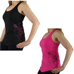 Hawaiian Hibiscus Tattoo Terry Racerback Tank in Pink and Black