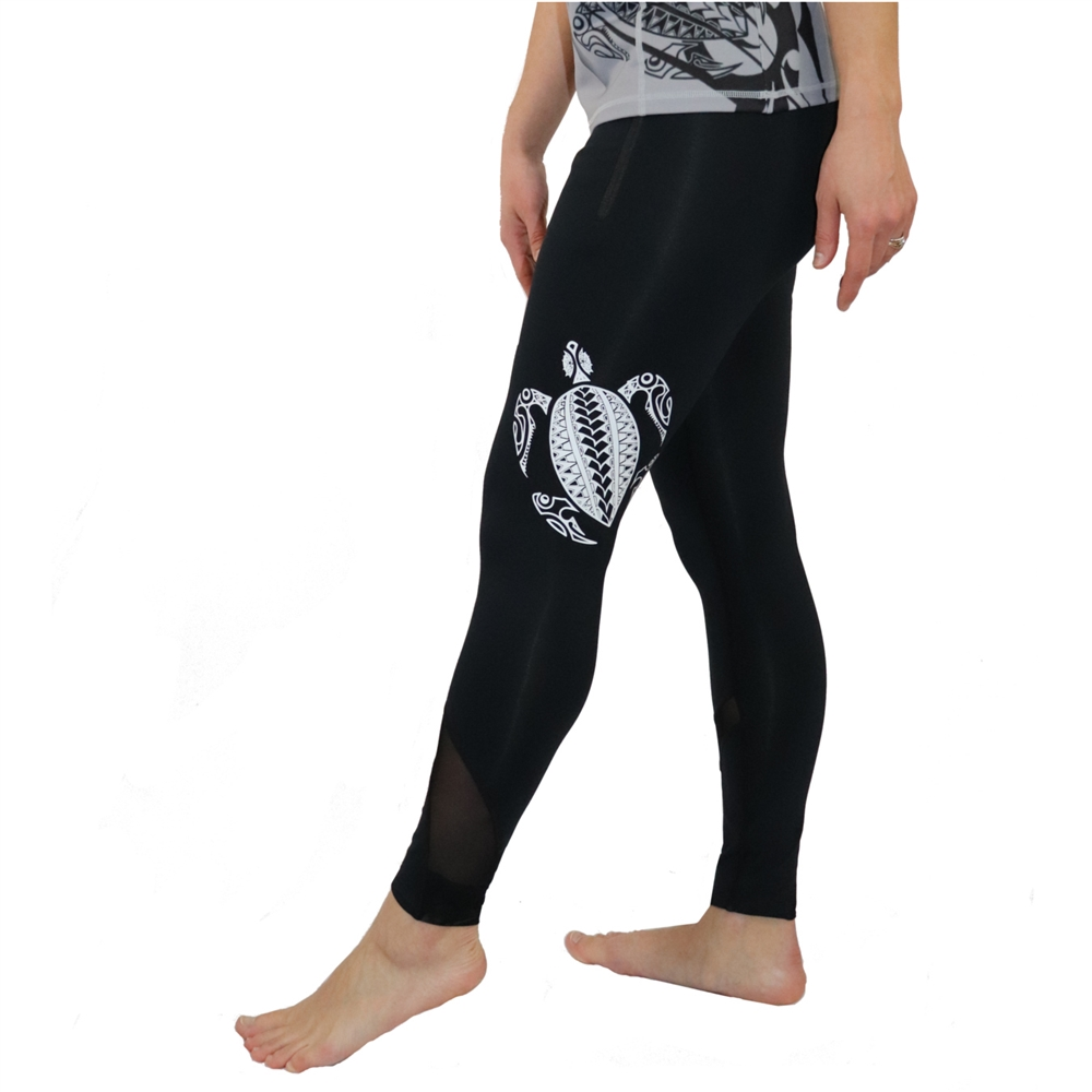 c764bb0a071be Honu (Hawaiian Green Sea Turtle) Tattoo Yoga Pants with Mesh accents and zippered  pockets