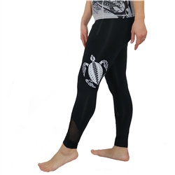 Honu (Hawaiian Green Sea Turtle) Tattoo Yoga Pants with Mesh accents and zippered pockets