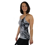 Honu Hawaiian Sea Turtle tattoo gray tank with a  Built in Bra and Removable Cups