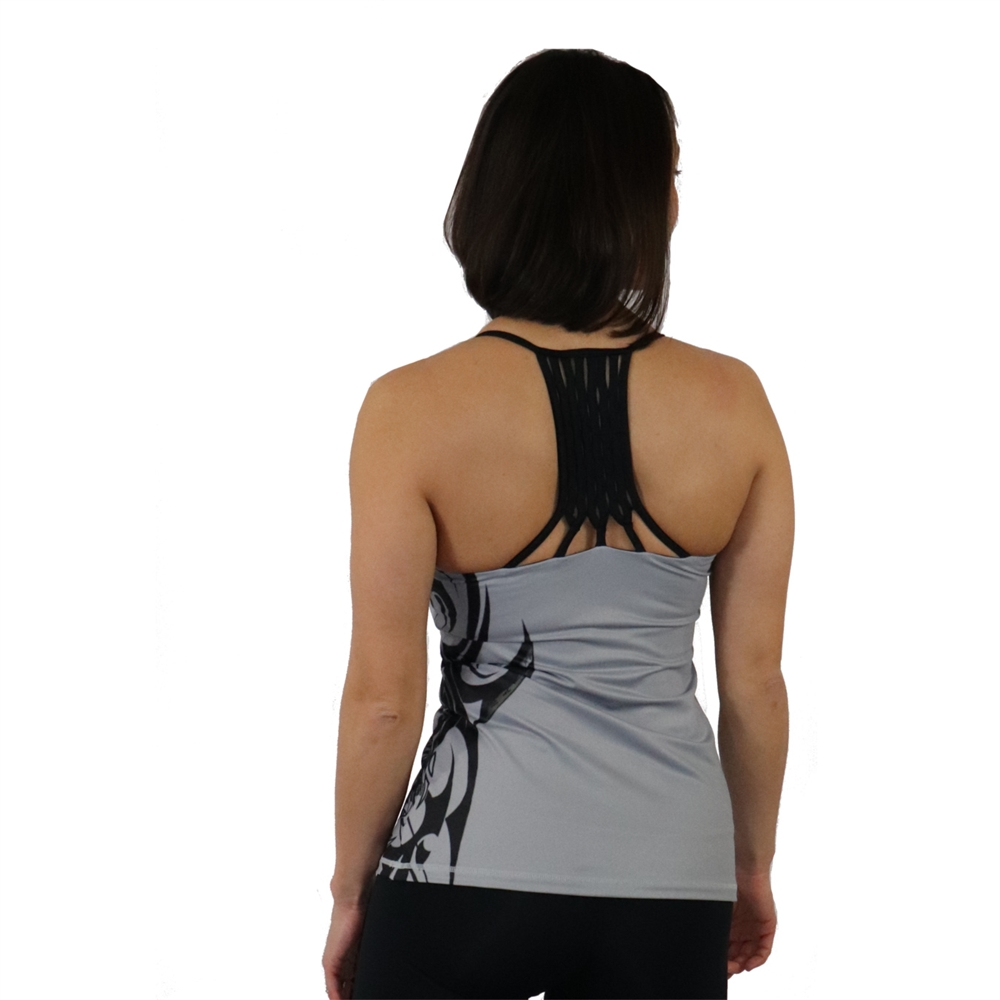 bb1969731003f Honu Hawaiian Sea Turtle tattoo gray tank with a Built in Bra and Removable  Cups