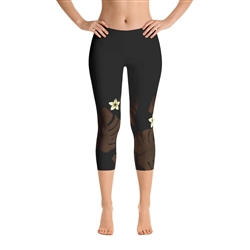 Monstera Leaf with Plumeria Print Capri Leggings