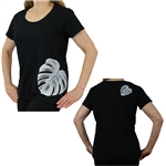 Women's Short Sleeve Semi Fitted Scoop Neck Shirt with Monstera Leaf Print