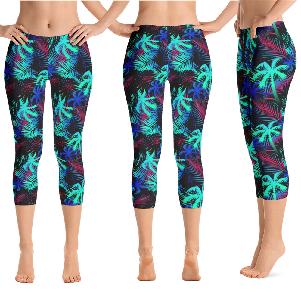 1cae5d491f Hawaiian Tropical Palm Tree and Fern Crop Yoga Pants - 9 Colors Available