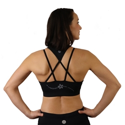 Plumeria Black Strappy Sports Bra with Removable Cups