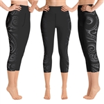 Polynesian Maori / Samoan Tattoo Crop Yoga Pants - 6 colors available & 2 Band Widths